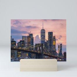 Sunset at Brooklyn Bridge and Lower Manhattan skyline 2019 Mini Art Print