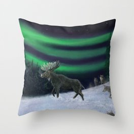 Northern Lights Moose Hunt Throw Pillow