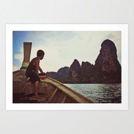 longboat, railay, thailand Art Print