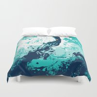 squid Duvet Covers featuring Squid Splash by Steven Toang