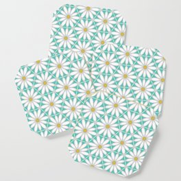 Daisy Hex - Turquoise Coaster