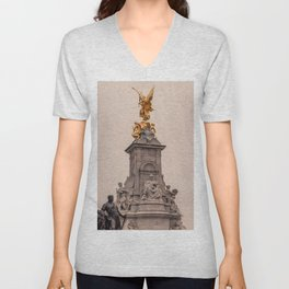 Victoria Monument as seen from Buckingham Palace side London England Unisex V-Neck