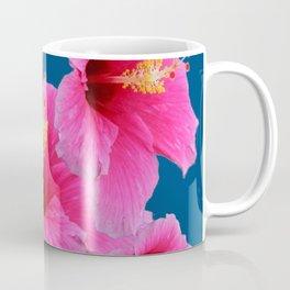 TEAL MODERN ART GIRLY PINK HIBISCUS Coffee Mug