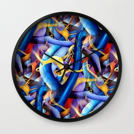 Watercolor Vivid Linear Modern Contemporary Abstract in Geometric Style Wall Clock
