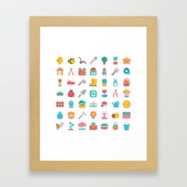 CUTE GARDENING PATTERN Framed Art Print