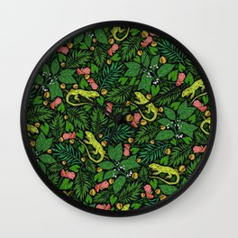 Neon Tropical Green Lizards and Jungle Leaves Wall Clock