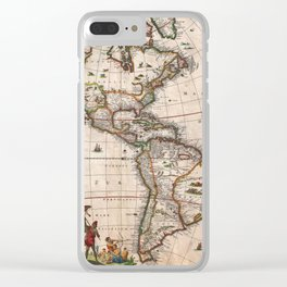 1658 Map of North America and South America with 2015 enhancements Clear iPhone Case