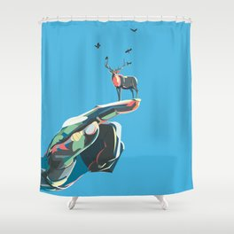 World in your hand - Deer Shower Curtain