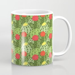 Green and Red Flowering Cactus Pattern Coffee Mug