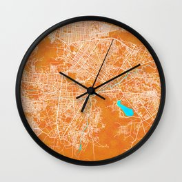 Kabul, Afghanistan, Gold, Blue, City, Map Wall Clock