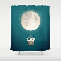 bunnies Shower Curtains featuring moon bunnies by Laura Graves