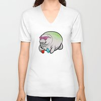 manatee V-neck T-shirts featuring Party Manatee by Theo Nicole Lorenz