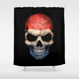 Dark Skull with Flag of The Netherlands Shower Curtain