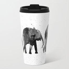 Elephants 2, black and white Travel Mug
