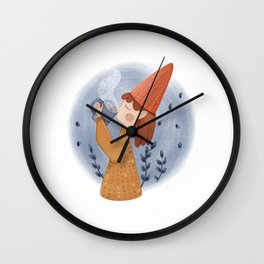 Cozy winter illustration. Girl with a hot drink  Wall Clock