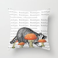 badger Throw Pillows featuring badger by vidikay