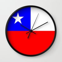 chile Wall Clocks featuring Chile country flag by tony tudor