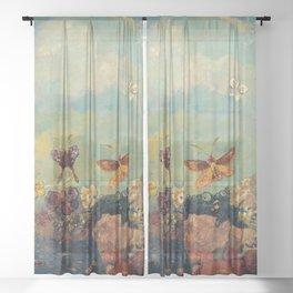 Odilon Redon - Butterflies Sheer Curtain