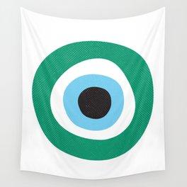 Emerald Dark Green Evil Eye Symbol Wall Tapestry