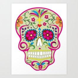 Sugar Skull cream Art Print