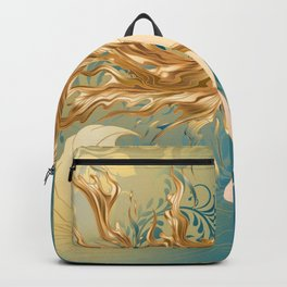 Golden Teal Woman Backpack