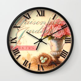 027 Wall Clock Pink flowers with eggs Wall Clock