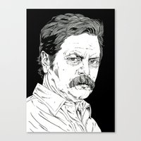 ron swanson Canvas Prints featuring Ron Swanson by Andy Christofi