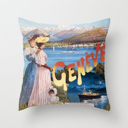Old Sign / Geneve Affiche - Paris Throw Pillow