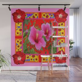TROPICAL RED-PINK HIBISCUS FLOWERS PATTERNS Wall Mural
