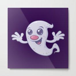 Cute Retro Ghost Metal Print