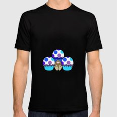 Cute Monster With Blue And Purple Polkadot Cupcakes MEDIUM Mens Fitted Tee Black