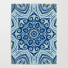 Blue and Gold  flowers pattern Poster