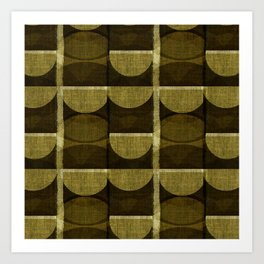 """""""Retro Olive green Chained Circles"""" Art Print"""