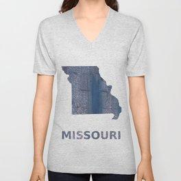 Missouri map outline Slate gray vague watercolor painting Unisex V-Neck