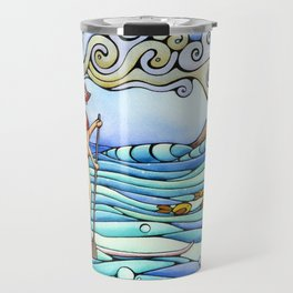 Stand Up Paddle Board SUP Surf Surfing Girl Beach Ocean Hawaii Travel Mug