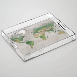 Rustic physical world map in taupe Acrylic Tray