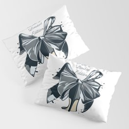 Fashion illustration with high heel shoe and bow. I am limited edition Pillow Sham