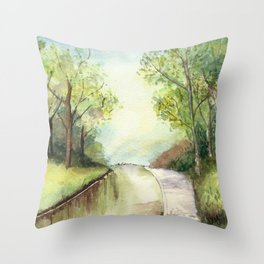 Trees by the canal Throw Pillow