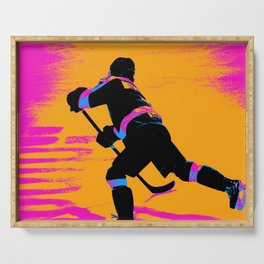 He Shoots! - Hockey Player Serving Tray
