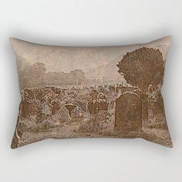Irish Graveyard | Sepia Graveyard | Halloween Landscape Rectangular Pillow