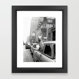 Llama Riding In Taxi Framed Art Print