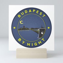 Budapest By Night, circle with frame Mini Art Print