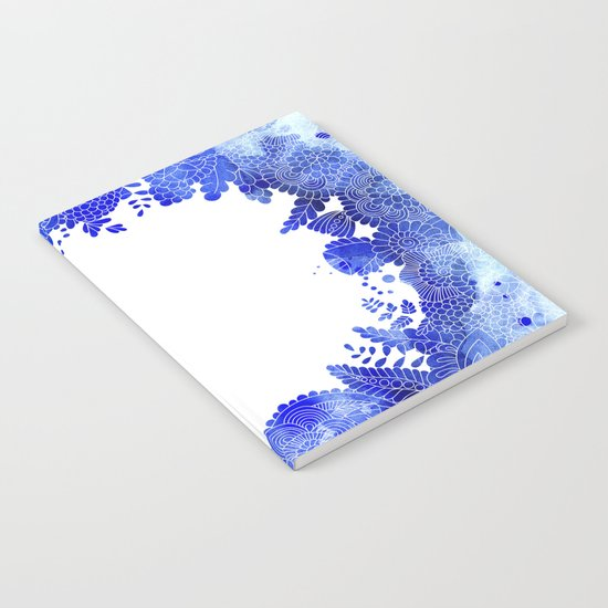 Blue Floral Pattern 04 Notebook