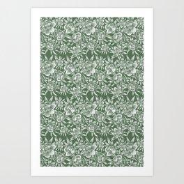 winter aconite/green+silver Art Print