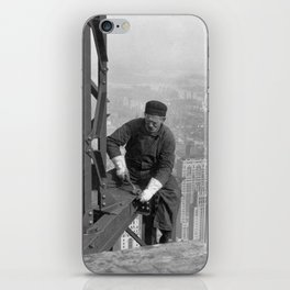 A construction worker on top of the Empire State Building in 1930, New York. iPhone Skin