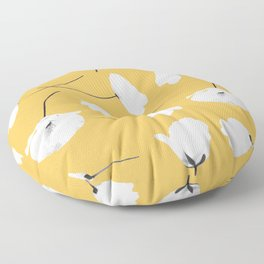 Poppies on mustard Floor Pillow