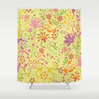 oriental Shower Curtains featuring Oriental Blooms by Poppy & Red