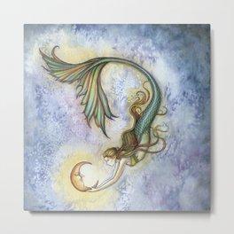Deep Sea Moon Fantasy Mermaid Art Illustration by Molly Harrison Metal Print