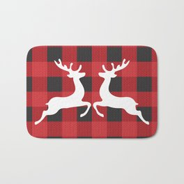 Reindeer's With Cute Red & Black Buffalo Check Christmas/ Buffalo Plaid Bath Mat