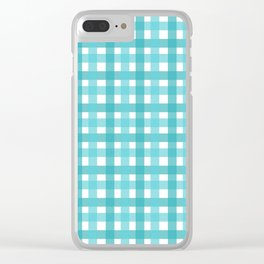 Light Blue Picnic Cloth Pattern Clear iPhone Case